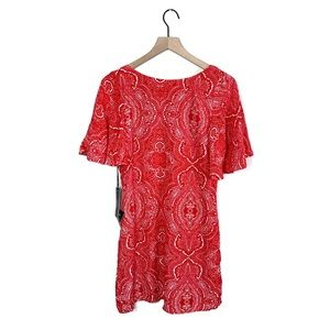 NWT Lulu's Red Paisley Mini Dress with Chain Back